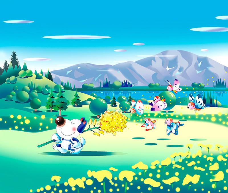 イラスト 画像 素材 菜の花 アブラナ 犬 チョウチョ 春 風景 山 森 自然 菜の花畑 動物