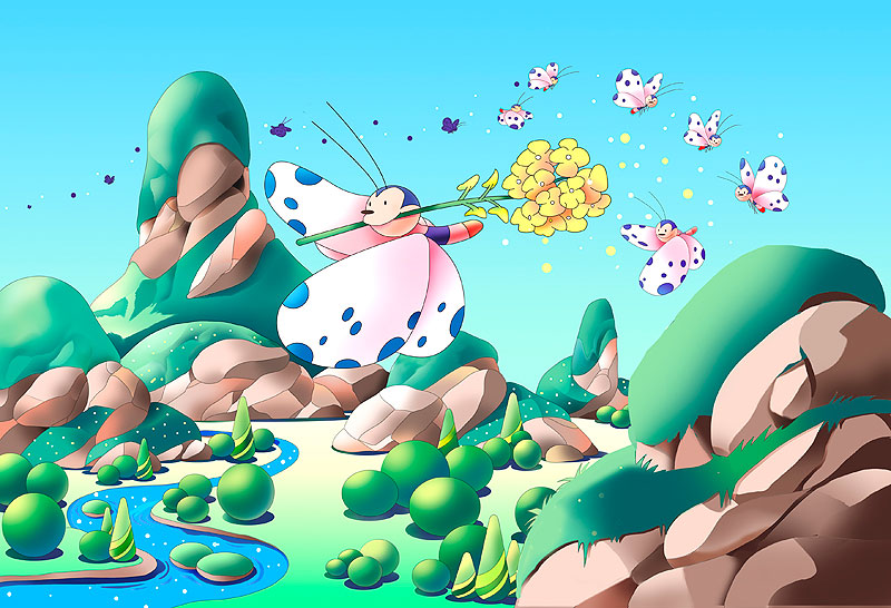 イラスト 画像 素材 菜の花 春 季節 チョウチョ 山 川 風景 アブラナ 植物 昆虫 渓谷