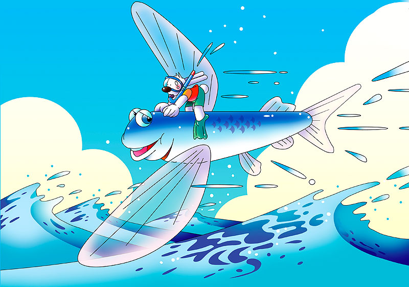 イラスト 画像 素材 トビウオ 魚 ウサギ シュノーケル 海 夏 青空 雲 季節 波 キャラクター