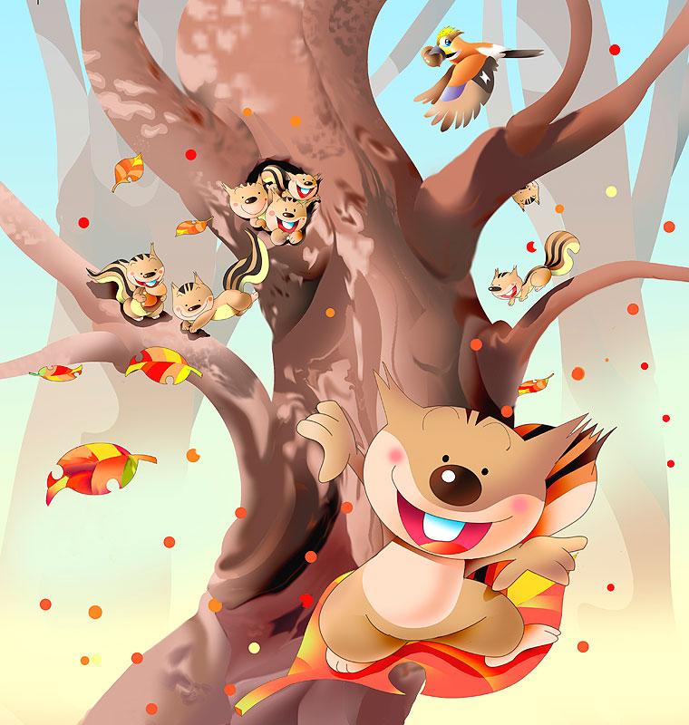 イラスト 画像 素材 秋 季節 リス 家族 ファミリー 巣穴 木 木の葉 紅葉 動物 キャラクター