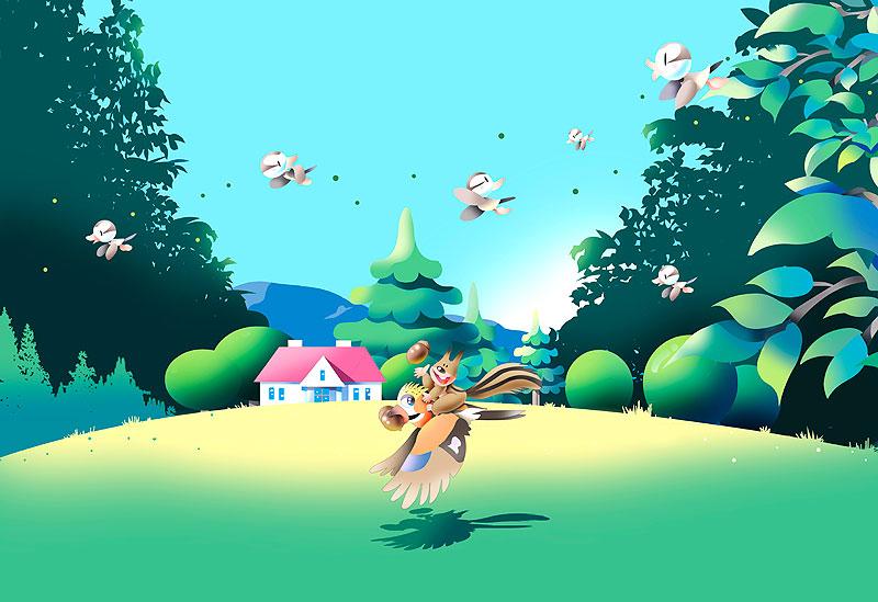 イラスト 画像 素材 鳥 リス 小鳥 森 風景 動物 家 山 自然 野原 ドングリ メルヘン