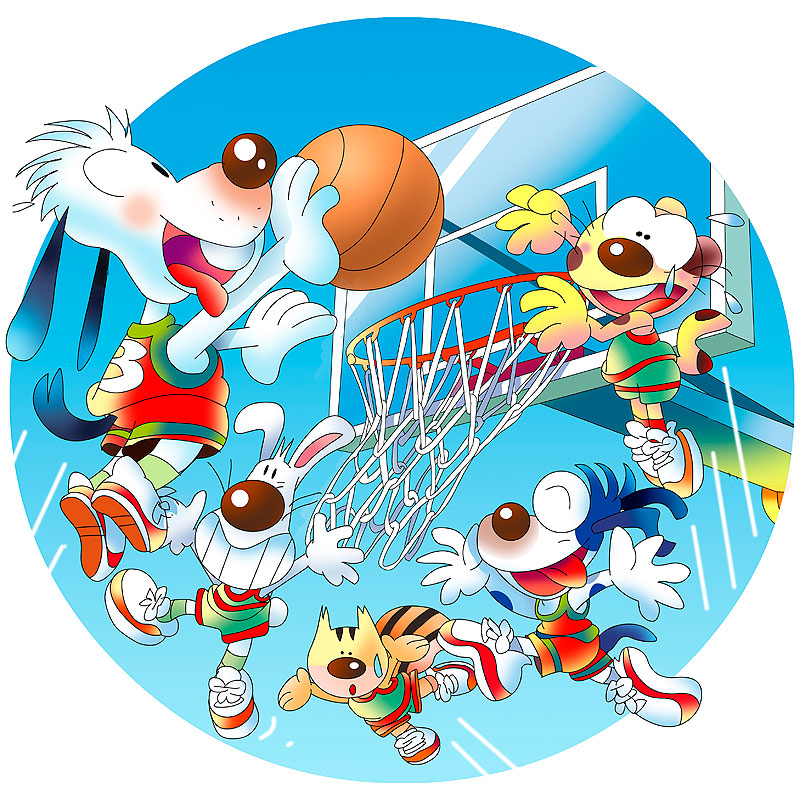 イラスト 画像 素材 バスケットボール ゴール ボール 動物 犬 リス シュート スポーツ 楽しい