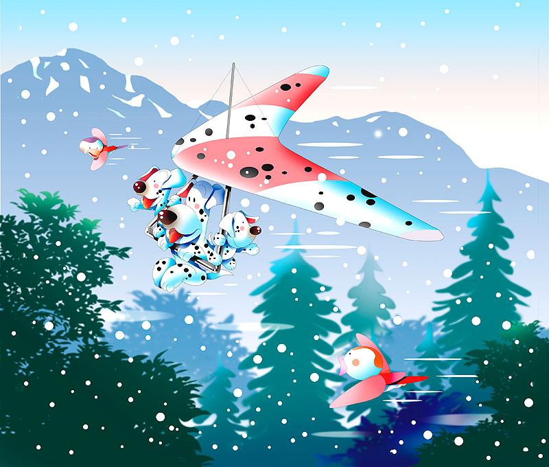 イラスト 画像 素材 イヌ ぶちイヌ ダルメシアン 動物 雪山 冬 季節 ウィンタースポーツ 森 ハンググライダー 空