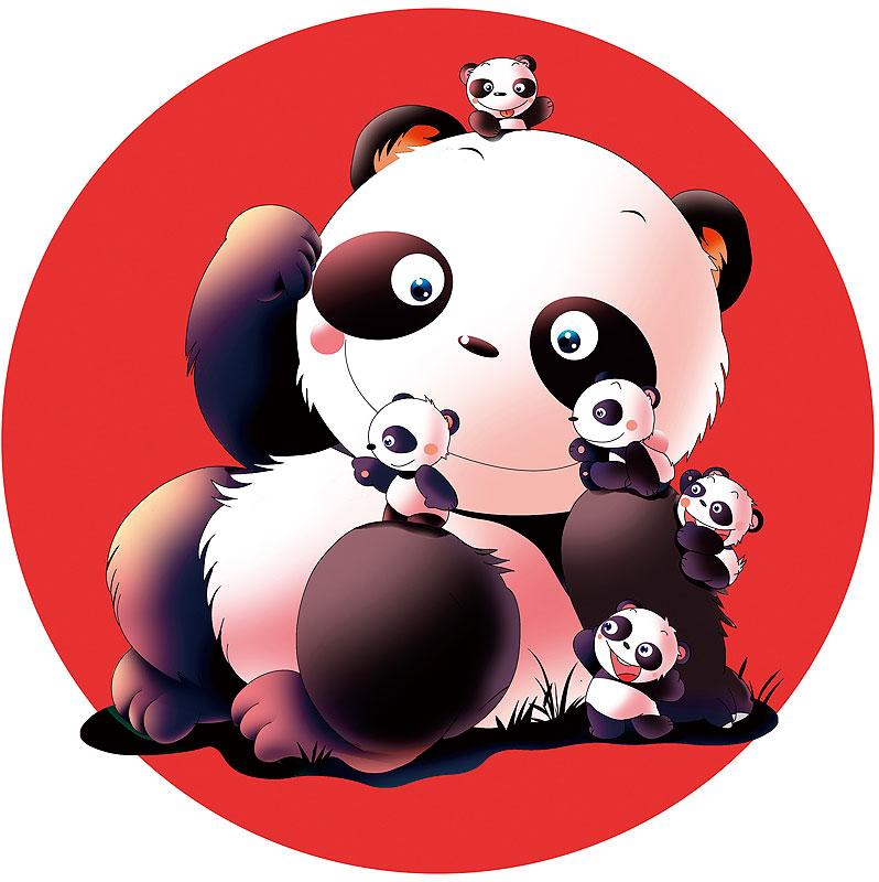 イラスト 画像 素材 パンダ 動物 キャラクター 親子 家族 ファミリー 動物園 レジャー 遊ぶ 元気 子供