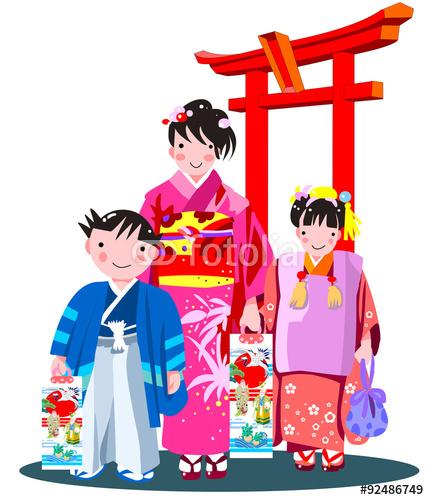 七五三、和風、着物、千歳飴、イラスト、神社,袴