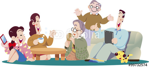 家族、リビングルーム、祖父母、おじいさん、おばあちゃん、子供、夫婦、ファミリー、 ソファー、リラックス、スマ−トフォン、タブレット、お茶、コーヒー、座る、老後