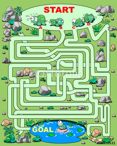 迷路、イラスト、ベクター、池、亀