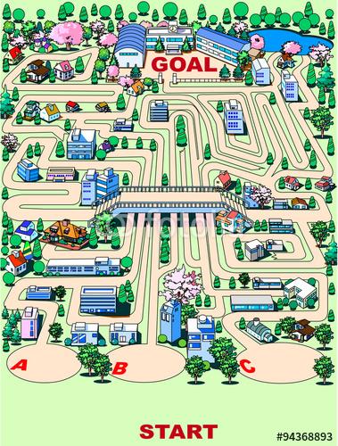 迷路、クイズ、パズル、ゴール、スタート、選択、迷う、ゲーム、イラスト