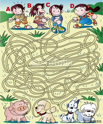 犬、迷路、クイズ、パズル、ゲーム、首輪、紐、絡む、問題、遊び、選択、ラビリンス、イラスト