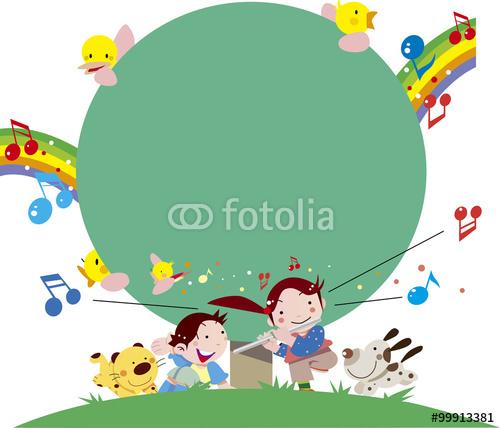 横笛、音楽、少女、少年、子供、教則本、イラスト、ベクター、白バック、教科書、音楽会、発表会