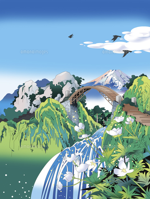 和風景、和風、風景イラスト、浮世絵、富士山