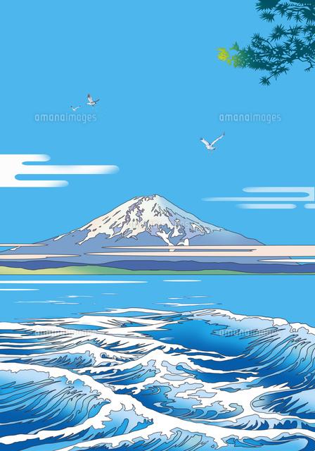 和風、風景、和風景、富士山、世界遺産、浮世絵,イラスト
