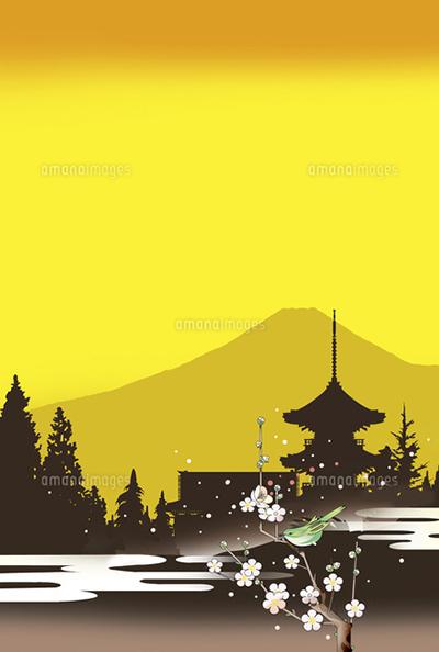 和風景、和風、風景イラスト、浮世絵、世界遺産、新春、京都、梅