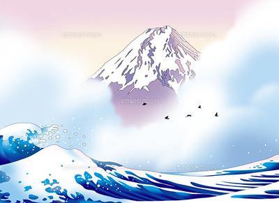 富士、世界遺産、浪裏、浮世絵、風景、和風、イラスト