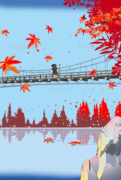 風景イラスト、和風景、イラスト、カレンダーイラスト、四季、秋、紅葉、吊り橋