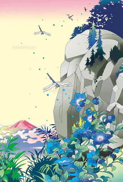 和風景、和風、風景イラスト、浮世絵、富士山、りんどう、谷、蜻蛉、北斎