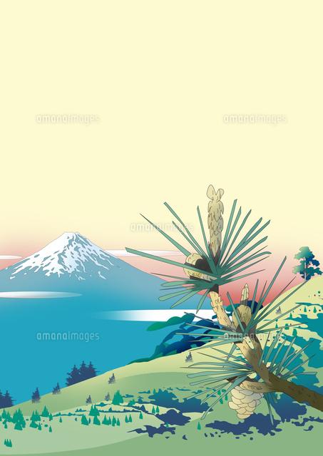 和風景、和風、風景イラスト、浮世絵、富士山、世界遺産、松,峠