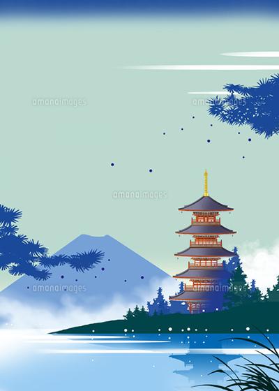和風景、和風、風景イラスト、浮世絵、富士山、塔、五十の塔