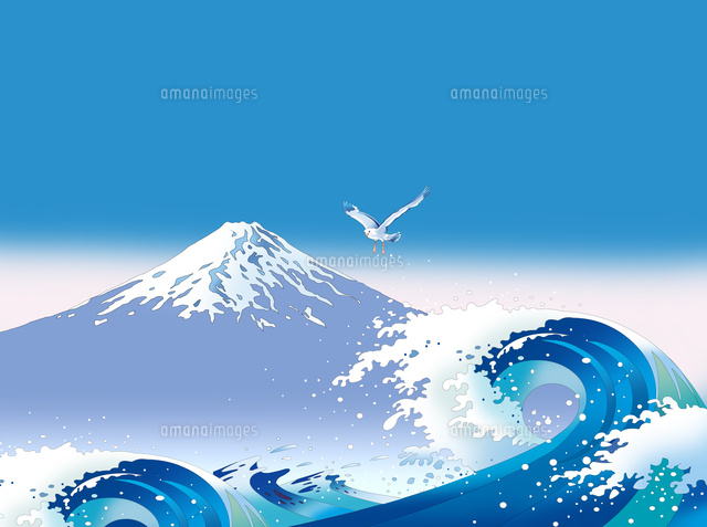 和風景、和風、風景イラスト、浮世絵、富士山、浪裏