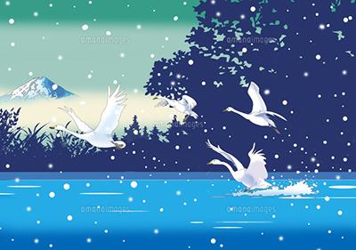 和風景、和風、風景イラスト、浮世絵、富士山,白鳥、雪