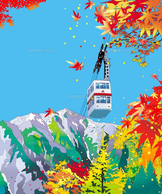 穂高、ロープウェイ、日本の名所、風景イラスト,紅葉