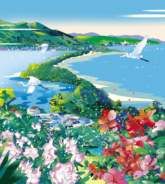 天橋立、風景イラスト、日本、イラスト、和風