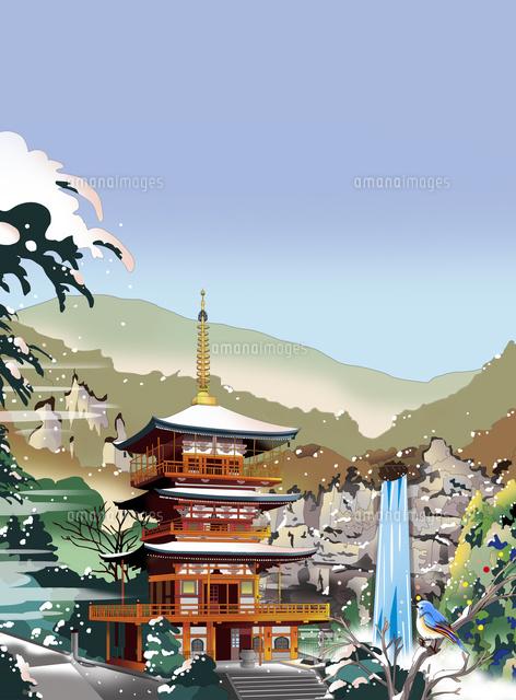 那智の滝 飛瀧神社 熊野古道 世界遺産 イラスト 風景イラスト 和風イラスト