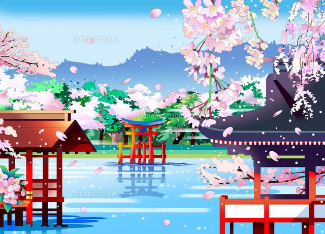 厳島神社、世界遺産、日本の風景、風景イラスト、和風、和風景、風景画