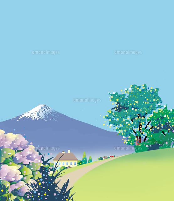 和風景、和風、風景イラスト、紫陽花、富士山、世界遺産