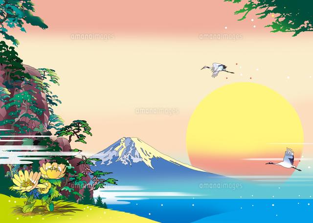 福寿草、富士山、風景イラスト、浮世絵、和風イラスト、新年