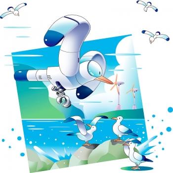 ロボット、かもめ、とり、カレンダーイラスト、表紙イラスト、イラスト、川野隆司、ロボット、ファンタジー