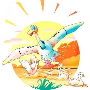 ロボット、白鳥、日の出、とり、カレンダーイラスト、表紙イラスト、イラスト、川野隆司、ロボット、ファンタジー