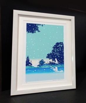 Creema,イラスト、川野隆司、版画、白鳥、雪、額縁