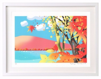 紅葉、秋、湖、イラスト、川野隆司