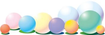 cg webバナー素材 web素材 かわいい イラスト カラフル カラーボール コピースペース タイトルバック バナー バナー用素材 バルーン パステルカラー ボール 玉 球 白バック 背景 風船 黄色