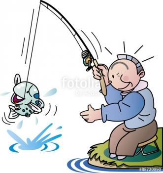 釣り、ルアーフィッシング、イラスト、老後m」趣味、老人イラスト