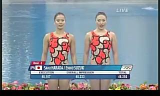 北京オリンピック シンクロ女子デュエットテクニカルルーティン 日本の原田・鈴木は3位