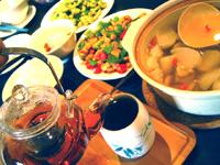 お昼ご飯にはプーアール茶