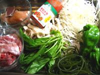 トマトケチャップ、豚スペアリブ、ピーマン、玉ねぎ、もやし、平茸などなど