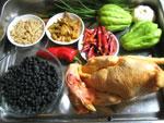 鶏、佛手瓜、唐辛子、生姜、ニンニク、黒豆、麦門冬
