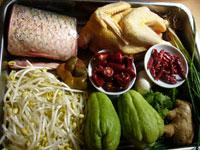 青魚、香菜、黄豆芽(もやし)、ザーサイ(搾菜)、冬筍、大葱(ねぎ)、鶏肉、佛手瓜