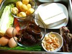 豆腐、小油面筋、凍豆腐、白菜、ニンジン、生姜、葱、黒木耳、卵、開洋(干し蝦)