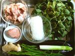 小菠菜、茄子、粉絲、排骨(豚スペアリブ)、生姜、豚肉
