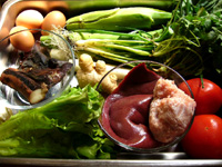 醤油肉、生菜(レタス)、芥藍菜、香菜、大葱、葱、鶏蛋(鶏卵)、面粉(小麦粉)、蕃茄(トマト)、猪肝(豚レバー)、生姜、香�(椎茸)