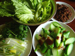 生菜(レタス)、芥藍菜、香菜、大葱、肉味噌