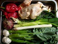 鶏、老干媽(市販の調味料)、紅椒(赤ピーマン)、大蒜、生姜、葱、花椒、香菜、洋葱(タマネギ)、芥藍菜(からし菜)
