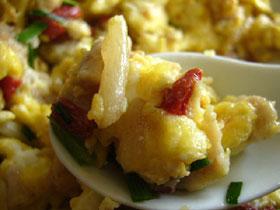 枸杞麦冬炒鶏蛋(クコと麦冬と豚肉の卵炒め)