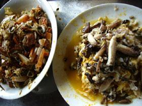 シナモズクガニ(上海蟹)の身と殻をわけたところ