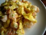 蝦仁枸杞炒鶏蛋(蝦と卵とクコの炒めもの)