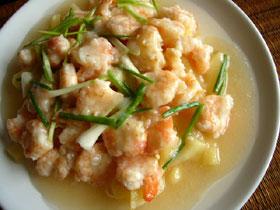 蘋果檸檬蝦仁(リンゴとレモンの蝦、唐辛子ソース添え)